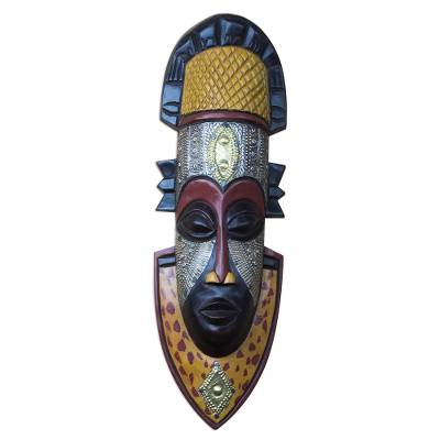 African wood mask, 'Noble King' - Regal Handcrafted African Sese Wood Mask from Ghana