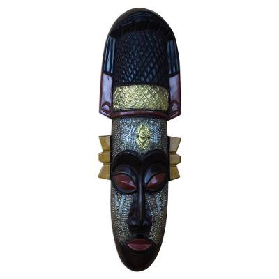 Artisan Crafted African Sese Wood Mask from Ghana