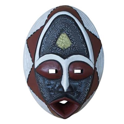 African Sese Wood Mask in White Red and Black from Ghana