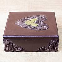 Wood decorative box, 'Love Keeper' - Heart Motif Wood Decorative Box from Ghana