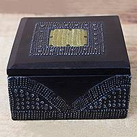 Wood decorative box, 'Royal Keeper' - Sese Wood Aluminum and Brass Decorative Box from Ghana