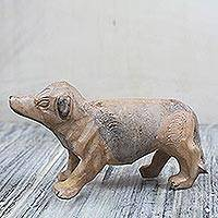 Wood sculpture, 'Forest Dog' - Artisan Crafted Hand-Carved Sese Wood Dog Sculpture