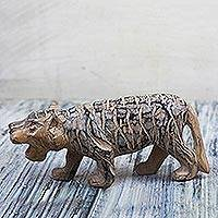 Wood sculpture, 'Jungle Tiger' - Hand-Carved Sese Wood Striped Wild Tiger Sculpture