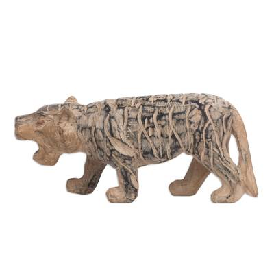 Hand-Carved Sese Wood Striped Wild Tiger Sculpture