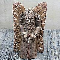 Wood sculpture, 'Kneeling Angel' - Hand-Carved Sese Wood Kneeling Praying Angel Sculpture