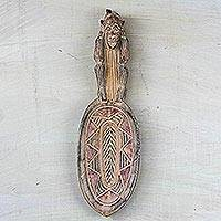 Wood wall art, 'Monkey Spoon' - Hand-Carved Monkey Spoon Sese Wood Wall Sculpture