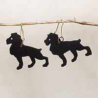 Ebony wood dangle earrings, 'Savannah King' - Handcrafted Lion Ebony Wood Dangle Earrings from Ghana
