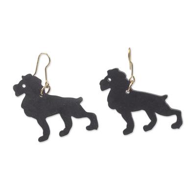Ebony wood dangle earrings,