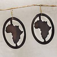 Ebony wood dangle earrings, 'Africa Encircled' - Handcrafted Oval Ebony Wood Africa Continent Dangle Earrings