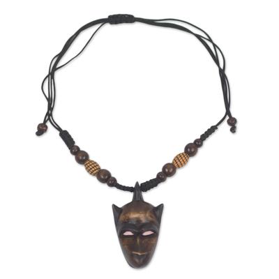Wood Monkey Head Adjustable Pendant Necklace from Ghana