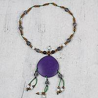 Wood beaded statement necklace, 'Gorgeous Purple' - Sese Wood Beaded Statement Necklace in Purple from Ghana