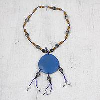 Wood beaded statement necklace, 'Blue Kindness' - Sese Wood Beaded Statement Necklace in Blue from Ghana
