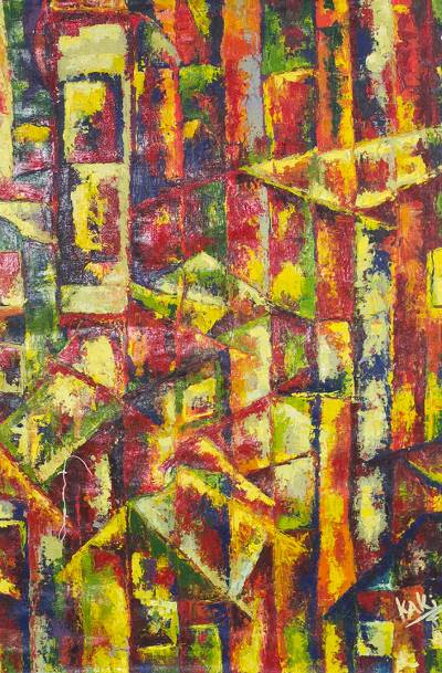 'Color Town' - Signed Colorful Abstract Painting from Ghana