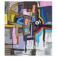 'Focus III' (2016) - Signed Colorful Abstract Painting from Ghana (2016)