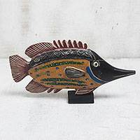 Wood sculpture, 'Exotic Fish' - Handmade Wood Sculpture of a Moorish Idol Fish from Ghana