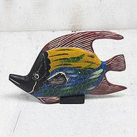 Wood sculpture, 'Fish Colors' - Colorful Wood Fish Sculpture Crafted in Ghana