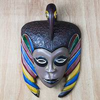 African wood mask, 'Dumaka Bird' - Colorful Bird-Themed African Wood Mask from Ghana