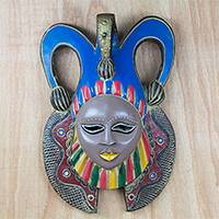 African wood mask, 'Barika Jester' - African Wood Jester Mask Crafted in Ghana