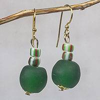 Recycled glass bead dangle earrings, 'Renewed Joy' - Bottle Green Recycled Glass Bead Dangle Earrings from Ghana