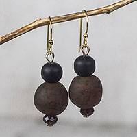 Recycled glass bead dangle earrings, 'Renewed Strength' - Brown-Black Recycled Glass and Plastic Bead Dangle Earrings