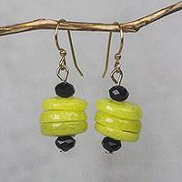 Recycled glass bead dangle earrings, 'Renewed Cheer' - Yellow Recycled Glass and Plastic Bead Dangle Earrings