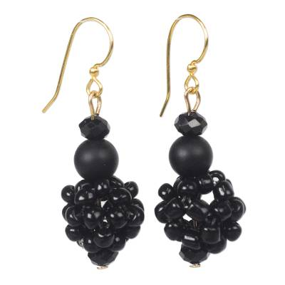 Recycled glass bead dangle earrings,