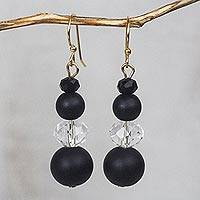 Recycled glass bead dangle earrings, 'Sudden Clarity' - Black and Clear Recycled Glass and Plastic Dangle Earrings