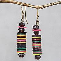 Recycled plastic bead dangle earrings, 'Joyful Tower' - Colorful Recycled Plastic Disc Dangle Earrings from Ghana