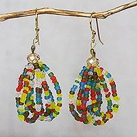 Recycled glass bead dangle earrings, 'Renewed Energy' - Colorful Recycled Glass and Plastic Bead Dangle Earrings