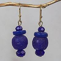 Recycled glass bead dangle earrings, 'Sustained Calm' - Ultramarine Blue Recycled Glass Bead Dangle Earrings