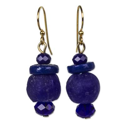 Ultramarine Blue Recycled Glass Bead Dangle Earrings