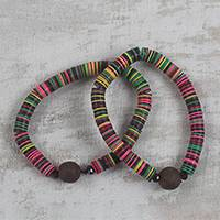 Recycled glass and plastic beaded stretch bracelets, 'Gathering of Colors' (pair) - Recycled Plastic and Glass Beaded Pair of Stretch Bracelets