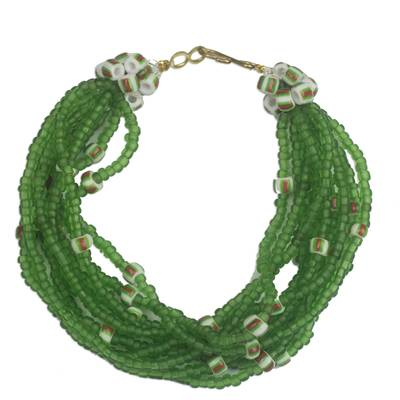 Green Striped Recycled Plastic and Glass Beaded Bracelet