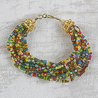 Recycled glass beaded torsade bracelet 'Celestial Adornment' - Artisan Crafted Multi-Colored Recycled Glass Beaded Bracelet