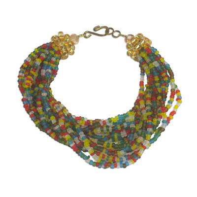 Artisan Crafted Multi-Colored Recycled Glass Beaded Bracelet
