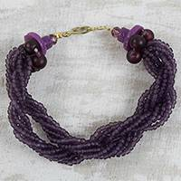 Recycled glass beaded torsade bracelet, 'Violet Horizon' - Artisan Crafted Purple Recycled Glass Beaded Bracelet