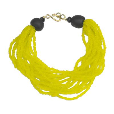 Handmade Yellow and Black Recycled Glass Beaded Bracelet