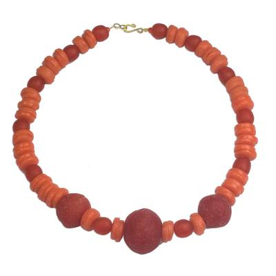 Artisan Crafted Orange Recycled Glass Beaded Necklace