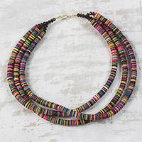 Recycled plastic and glass beaded necklace, 'Gathering of Colors' - Multi-Colored Recycled Plastic and Glass Beaded Necklace