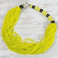 Recycled glass bead torsade necklace, 'Abundant Sunshine' - Yellow Recycled Glass Bead Multi-Strand Torsade Necklace