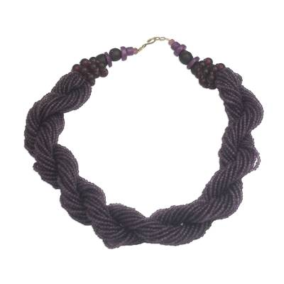 Dark Purple Recycled Glass Beaded Torsade Necklace