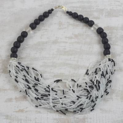 Recycled glass beaded torsade necklace, 'Zebra Dazzle' - Black and White Recycled Glass Beaded Statement Necklace