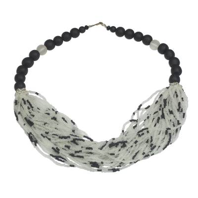 Black and White Recycled Glass Beaded Statement Necklace