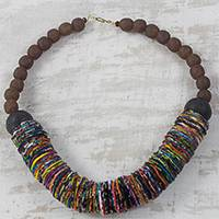 Cotton and recycled glass statement necklace, 'Rainbow Ruffle'` - Rainbow Cotton Fabric and Recycled Glass Statement Necklace