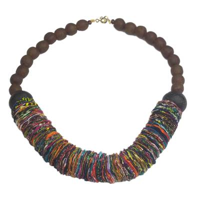 Rainbow Cotton Fabric and Recycled Glass Statement Necklace