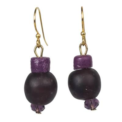 Recycled Glass Beaded Dangle Earrings in Black and Purple