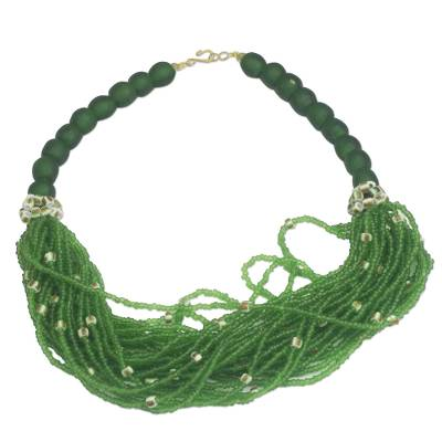 Green Recycled Glass Beaded Torsade Necklace