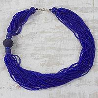 Recycled glass beaded necklace, 'Bluebird Song' - Handcrafted Royal Blue Recycled Glass Beaded Necklace