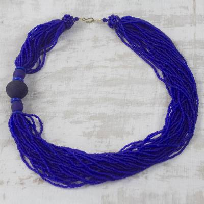 Recycled glass beaded torsade necklace, 'Bluebird Song' - Handcrafted Royal Blue Recycled Glass Beaded Necklace