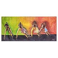 'Salsa Dance' - Signed Expressionist Painting of Salsa Dancers from Ghana